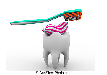 Tooth and toothbrush on white isolated background