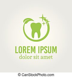 Tooth around which green leaf logo template
