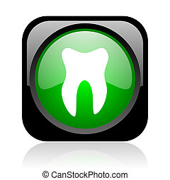 tooth black and green square web glossy icon