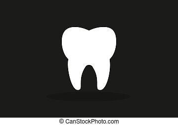 Tooth black and white Icon silhouette. Health, medical or...