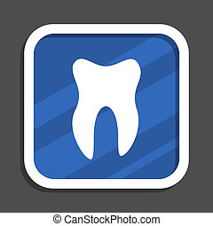 Tooth blue flat design square web icon