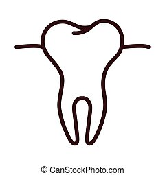 tooth body part line style vector illustration design