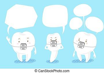 tooth brace with speech bubble - cartoon brace tooth talk...