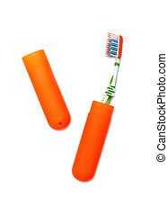 tooth brush and case isolated on a white background