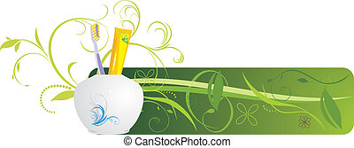 Tooth brush and paste. Banner