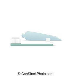 Tooth brush and toothpaste illustration vector on white background. Dental concept.