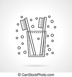 Tooth brush icon flat line design vector icon
