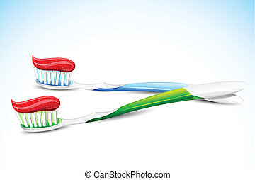 Tooth Brush - illustration of tooth paste on tooth brush on...