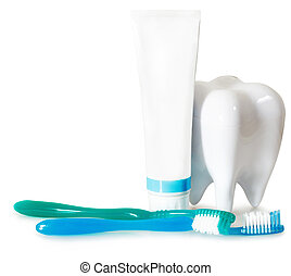 Tooth brushes with mint, tooth paste and dental floss...