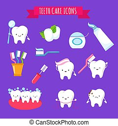 Tooth brushing and dental care cute cartoon icons for kids. Funny teeth with toothbrush and toothpaste