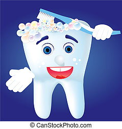 Tooth-cartoom clean himself, vector illustration