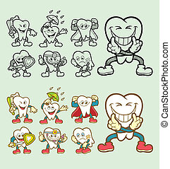 Tooth cartoon character icons