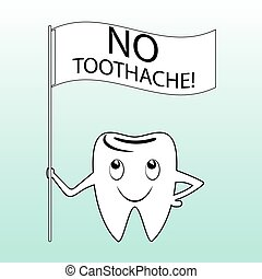 Tooth cartoon character with a slogan.