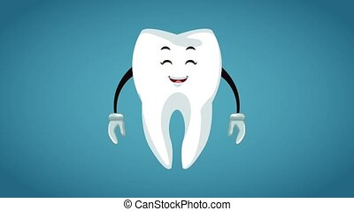 Tooth cartoon dental hygiene HD animation - Cute tooth ...