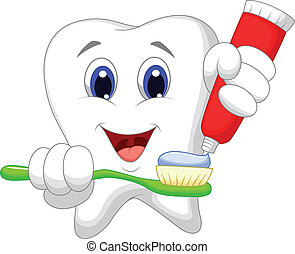 Tooth cartoon putting tooth paste o - Vector illustration of...