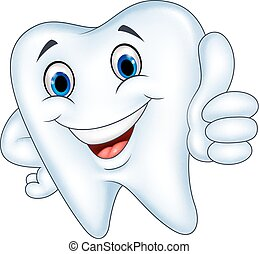 Tooth cartoon with thumb up - Vector illustration of Tooth...