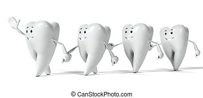 Tooth character - 3d rendered illustration of a tooth ...
