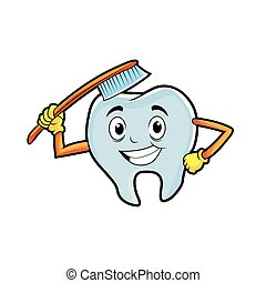 tooth character brushing himself