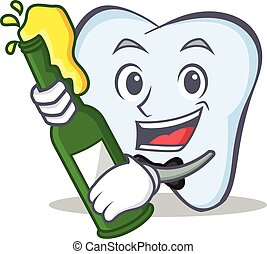 tooth character cartoon style with beer