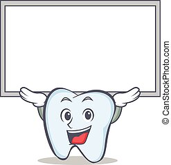 tooth character cartoon style with board
