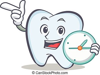 tooth character cartoon style with clock