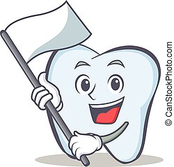 tooth character cartoon style with flag