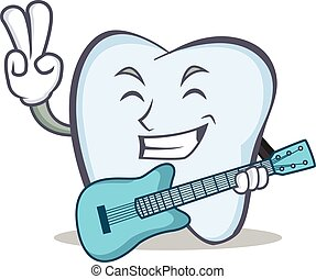 tooth character cartoon style with guitar