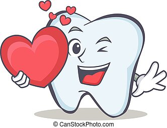 tooth character cartoon style with heart