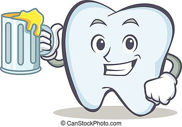 tooth character cartoon style with juice