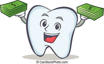 tooth character cartoon style with money