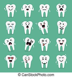 Tooth character emoji set