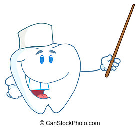 Tooth Character Holding A Pointer