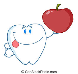 Tooth Character Holding A Red Apple