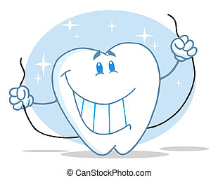 Tooth Character Holding Floss - Smiling Tooth Cartoon...