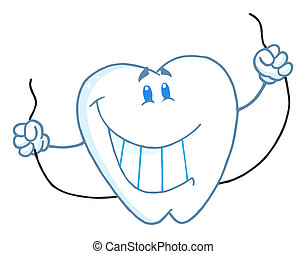 Tooth Character Holding Floss - Smiling Tooth Cartoon Mascot...