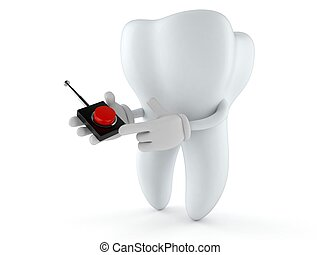 Tooth character pushing button on white background