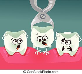 Tooth character removal. Stomatology dentistry concept. Vector flat cartoon illustration