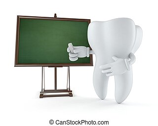 Tooth character with blank blackboard