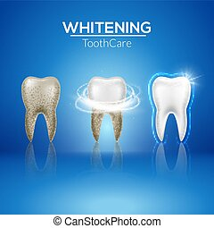 Tooth clean 3d health. Dental realistic dirty whitening....