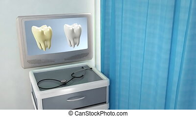 tooth compare medical screen - teeth screen in medical room...