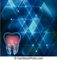 Tooth cross section abstract bright blue background