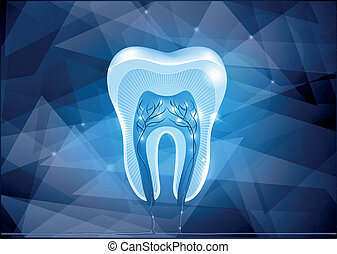 Tooth cross section design, abstract blue background