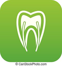 Tooth cross section icon digital green
