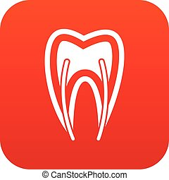 Tooth cross section icon digital red