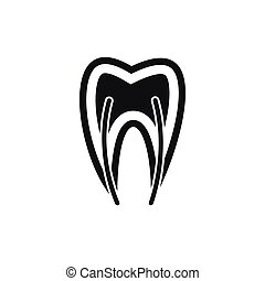 Tooth cross section icon, simple style