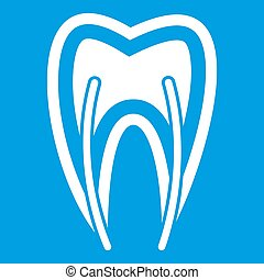 Tooth cross section icon white
