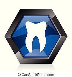 Tooth dark blue glossy hexagon geometric diamond vector web icon with reflection on white background. Modern design hexagonal internet button.