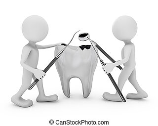 tooth decay - Two man with a medical tool examines destroyed...