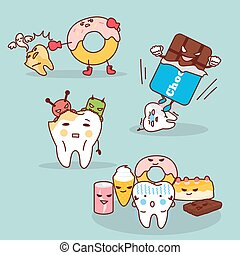 tooth decay with health problem - cute cartoon tooth decay...