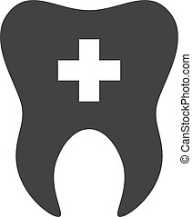 tooth., dentaire, croix, dent, gabarit, logo, icon., signe, symbole